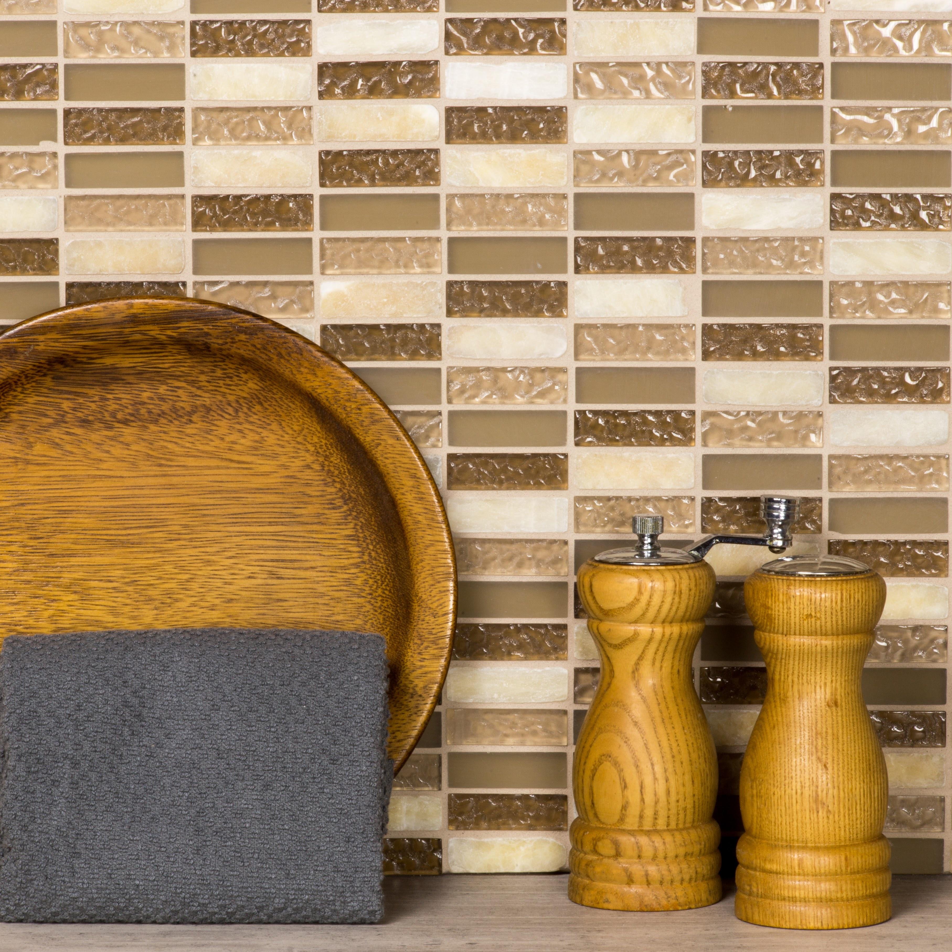 "Quartz 0.625"" x 2"" Multi Finish Beige Glass and Stone Rectangle Backsplash Mosaic Wall & Floor Tile"