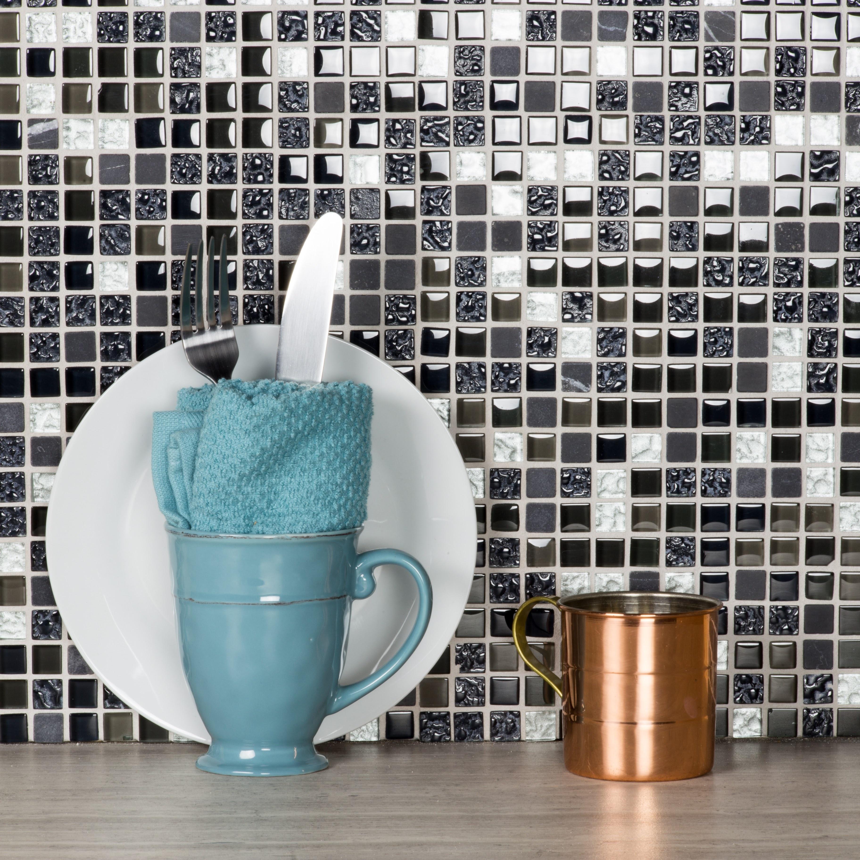 """Quartz 0.625"""" x 0.625"""" Multi Finish Black Glass and Stone Square Backsplash Mosaic Wall & Floor Tile"""