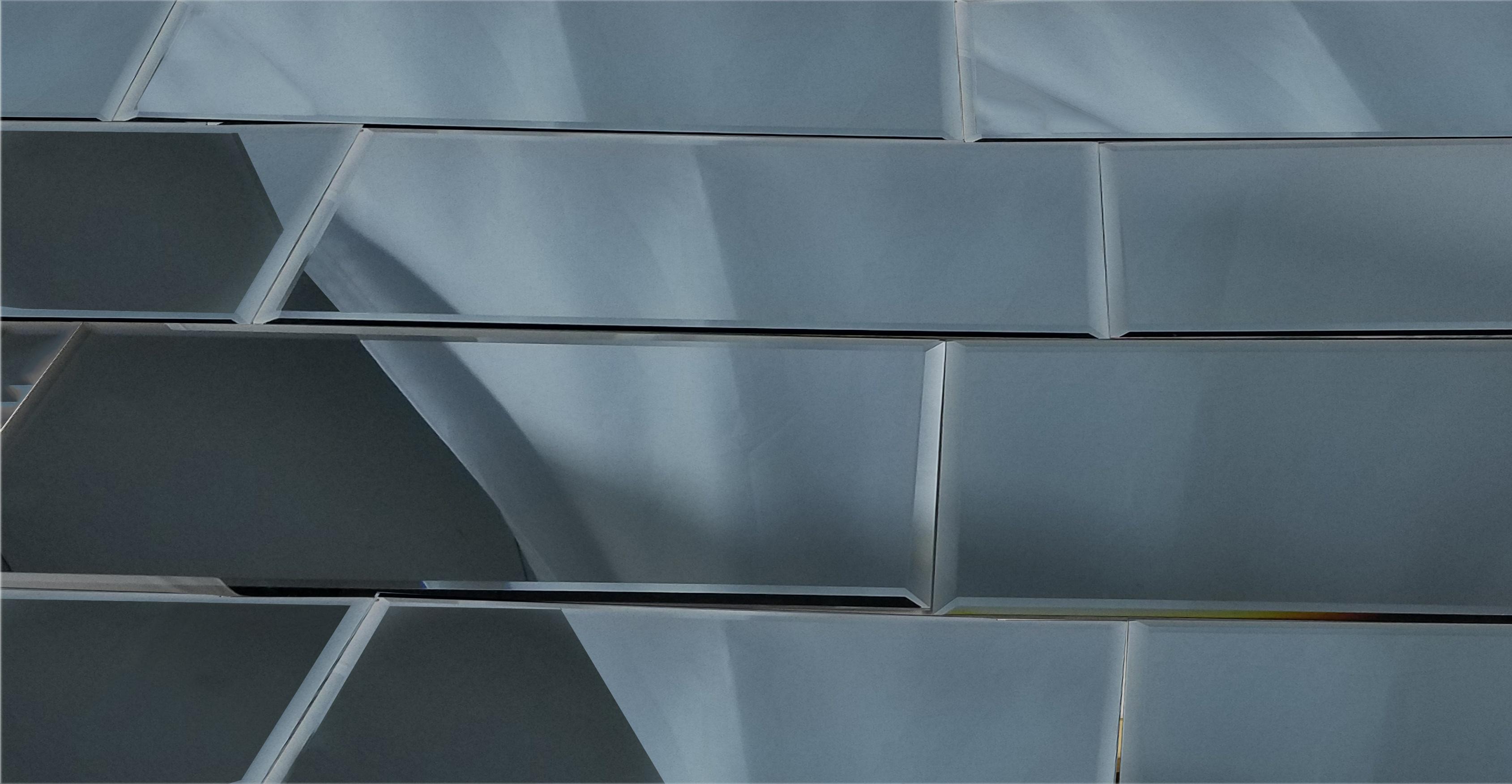 "Reflections 12"" x 24"" Glossy Gray Mirror Field Backsplash Wall Tile"