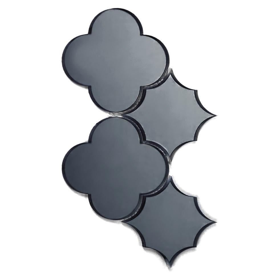 """Reflections 6"""" x 6"""" Glossy Gray Mirror Big Bang Waterjet Backsplash Mosaic Wall Tile"""