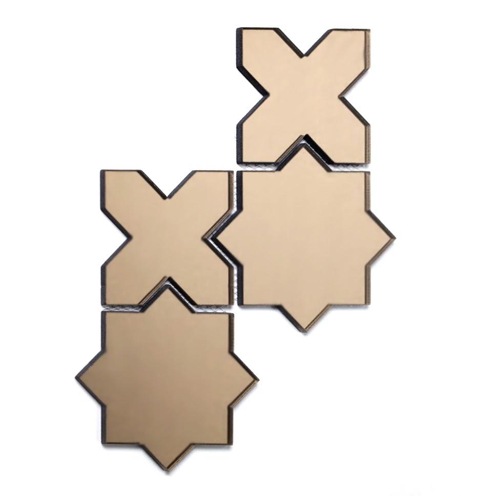 "Reflections 6"" x 6"" Glossy Gold Mirror Celestial Waterjet Backsplash Mosaic Wall Tile"