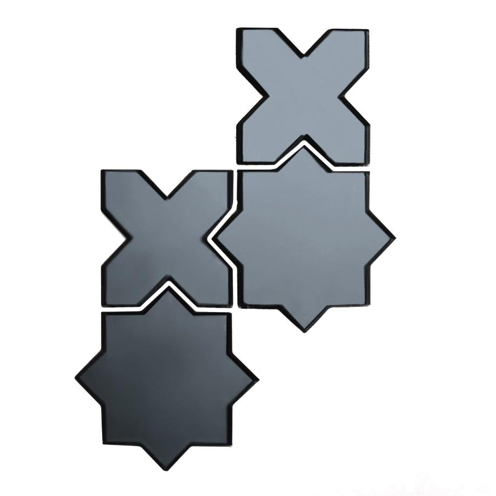 "Reflections 6"" x 6"" Glossy Gray Mirror Celestial Waterjet Backsplash Mosaic Wall Tile"