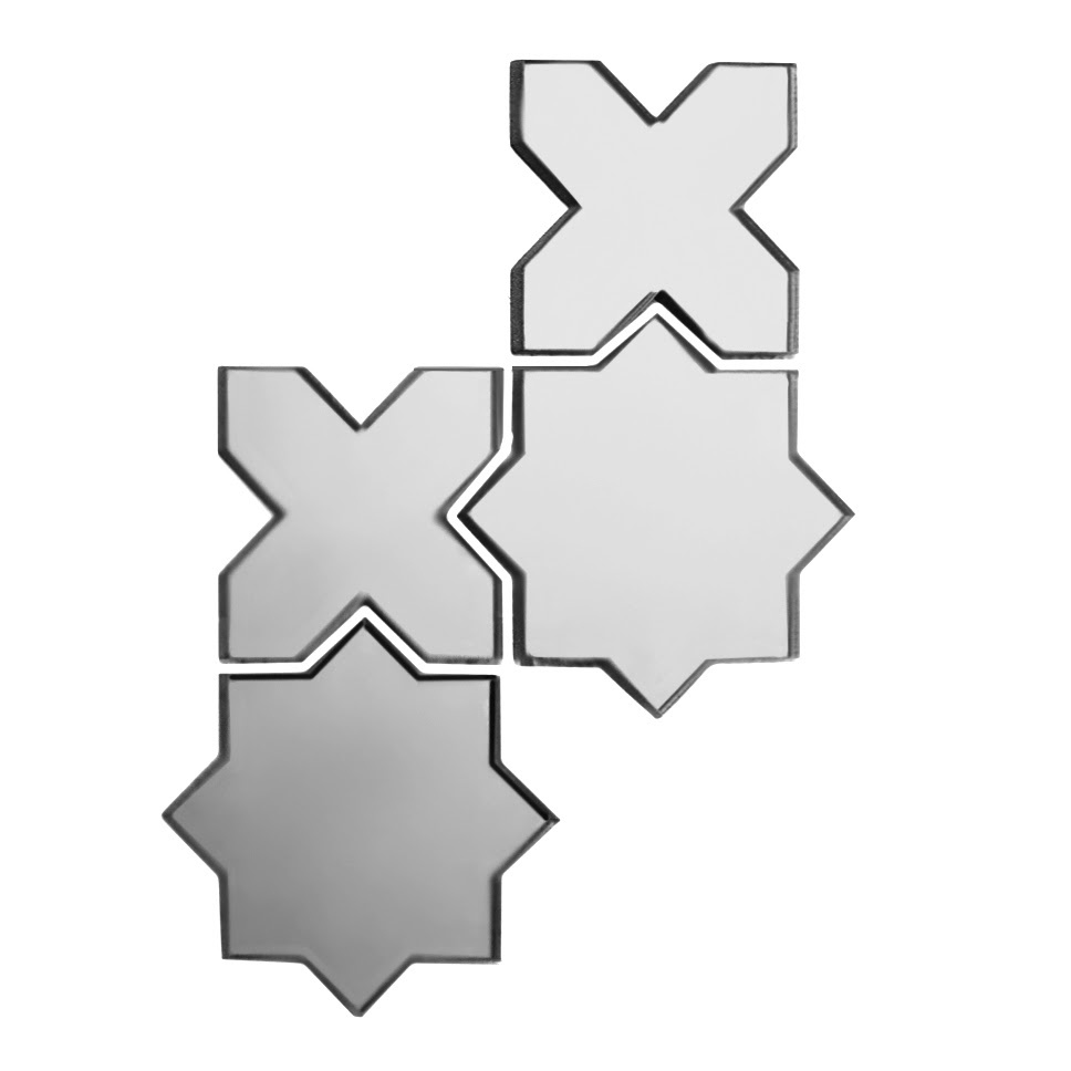 "Reflections 6"" x 6"" Glossy Silver Mirror Celestial Waterjet Backsplash Mosaic Wall Tile"