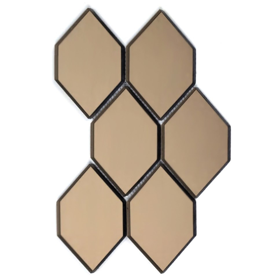 "Reflections 3.5"" x 5.125"" Glossy Gold Mirror Honeycomb Waterjet Backsplash Mosaic Wall Tile"