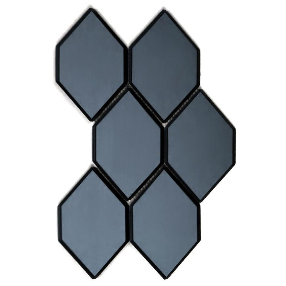 "Reflections 3.5"" x 5.125"" Glossy Gray Mirror Honeycomb Waterjet Backsplash Mosaic Wall Tile"