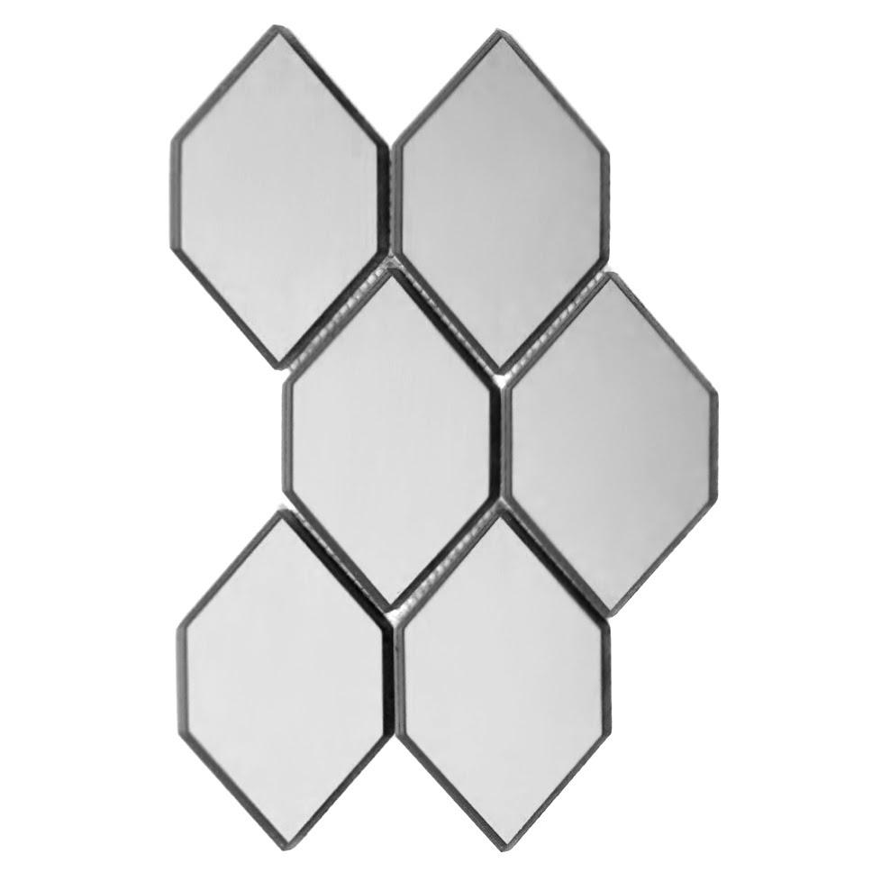 "Reflections 3.5"" x 5.125"" Glossy Silver Mirror Honeycomb Waterjet Backsplash Mosaic Wall Tile"