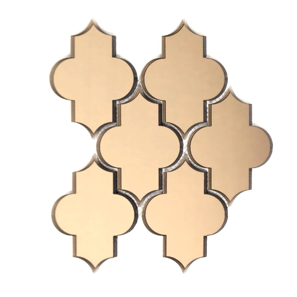 "Reflections 4"" x 5.5"" Glossy Gold Mirror Small Lantern Backsplash Mosaic Wall Tile"