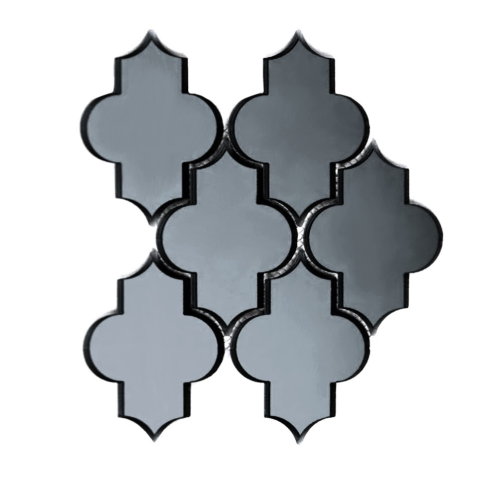 "Reflections 4"" x 5.5"" Glossy Gray Mirror Small Lantern Backsplash Mosaic Wall Tile"