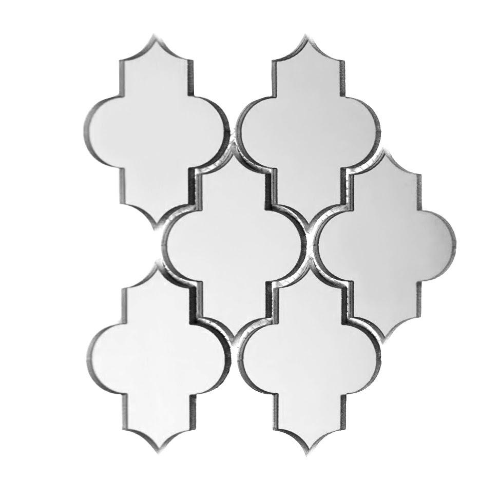 "Reflections 4"" x 5.5"" Glossy Silver Mirror Small Lantern Backsplash Mosaic Wall Tile"