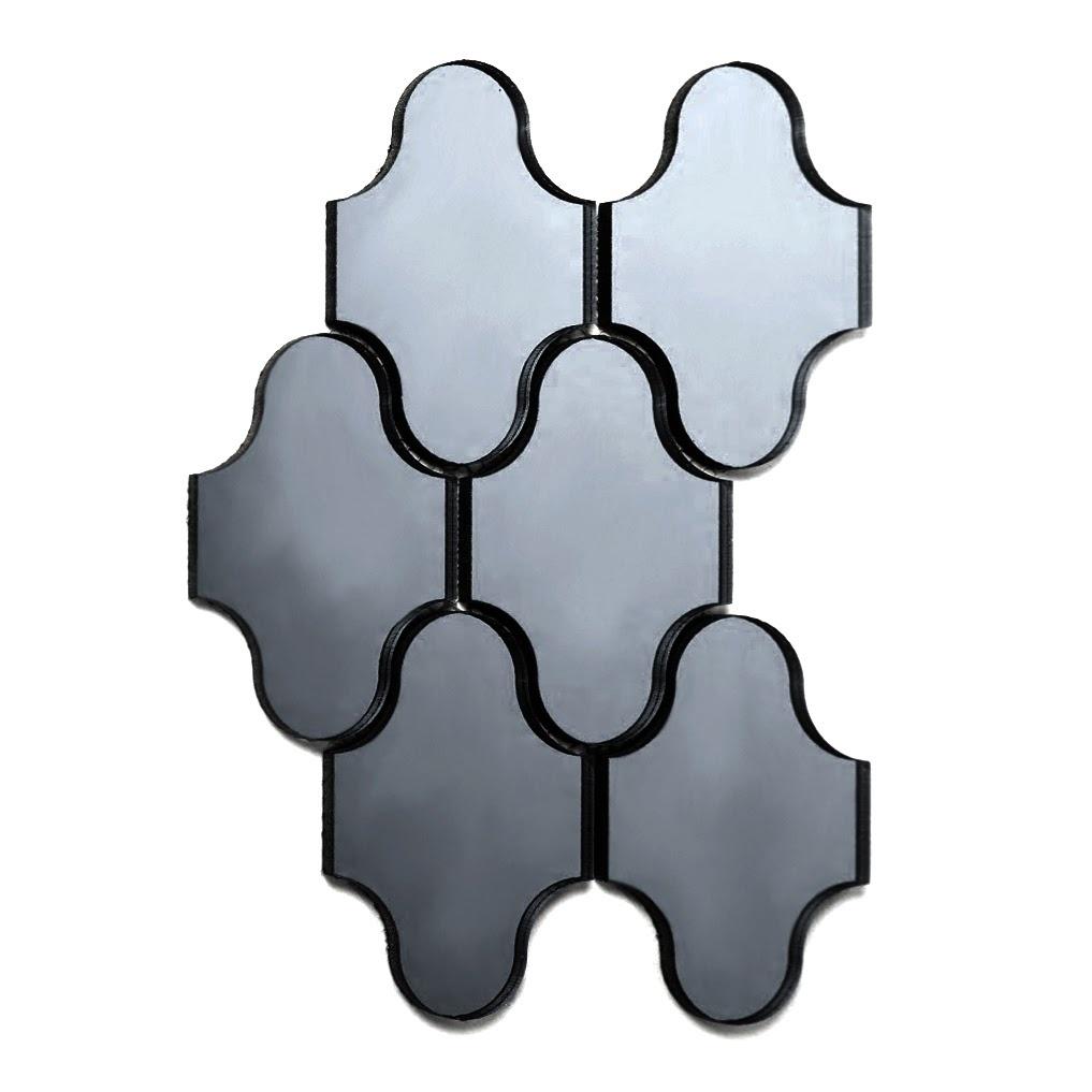 "Reflections 3.5"" x 5.125"" Glossy Gray Mirror Swag Waterjet Backsplash Mosaic Wall Tile"