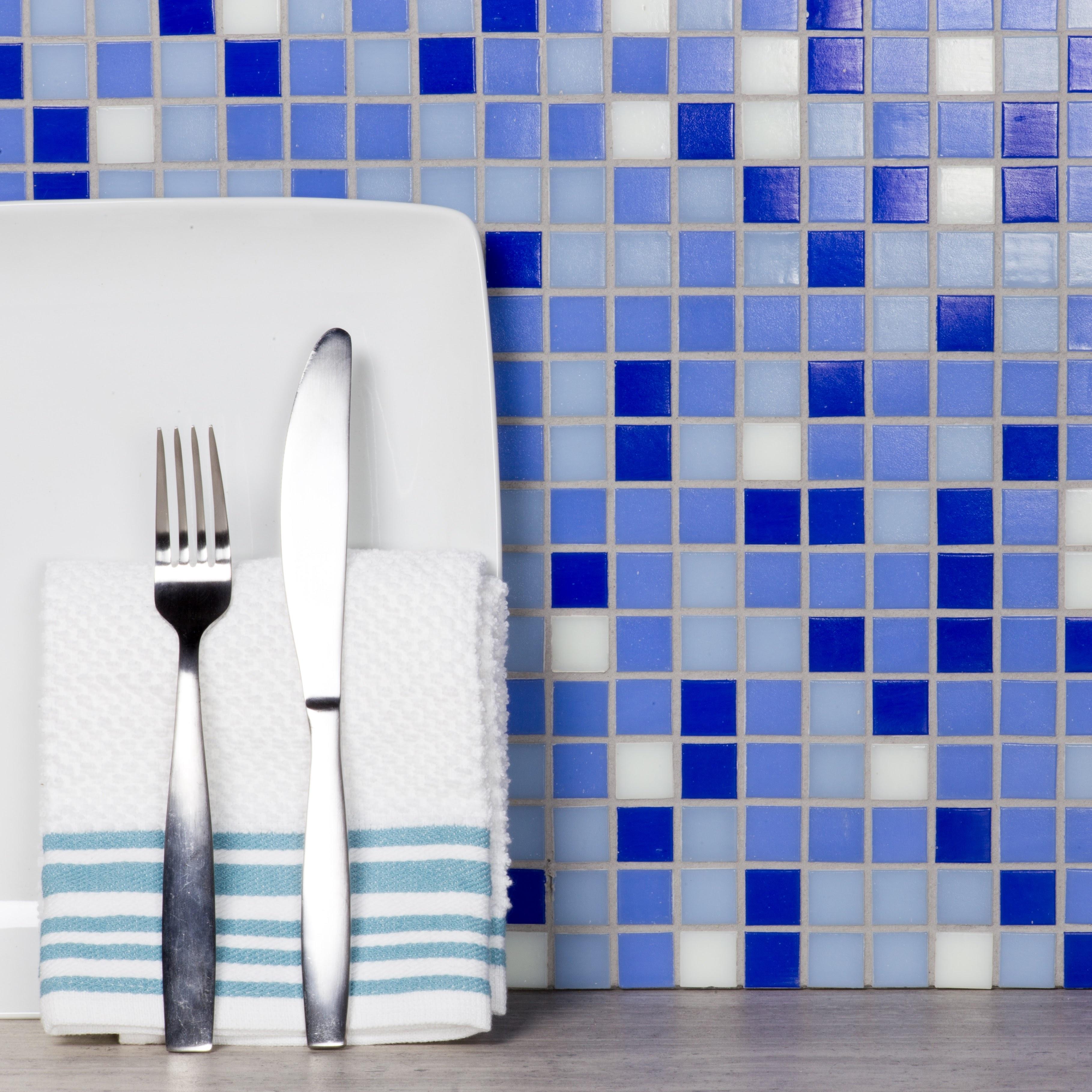 "Swimming Pool 0.75"" x 0.75"" Semi-Gloss Blue Glass Square Backsplash Mosaic Wall & Floor Tile"