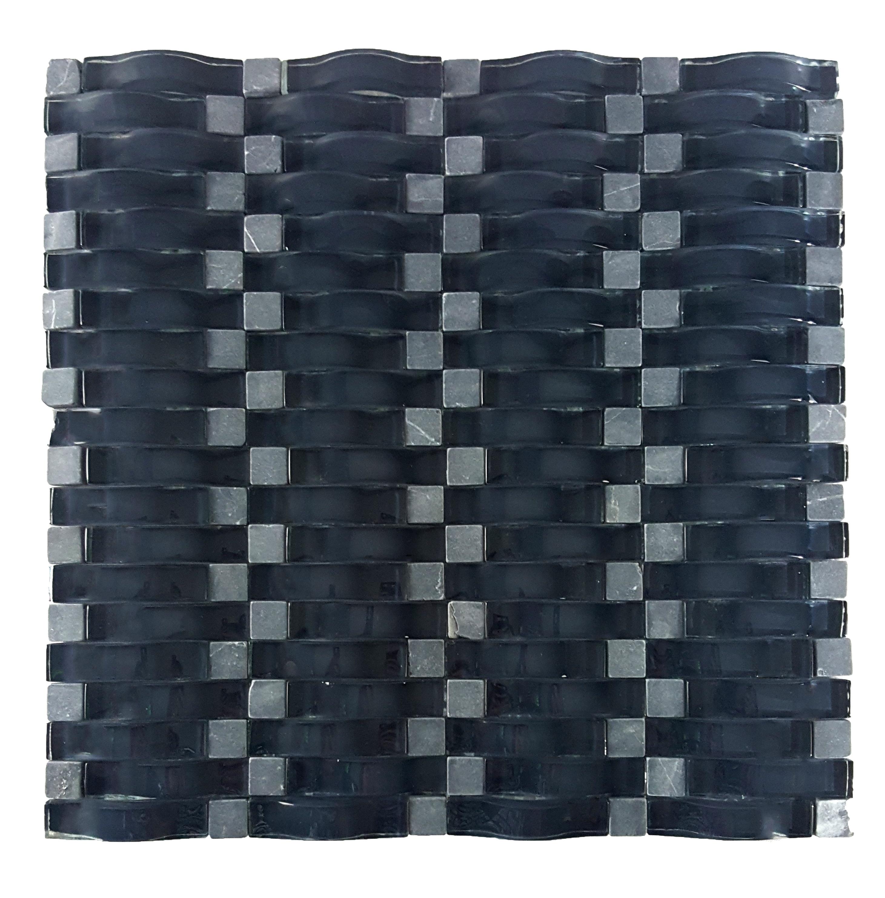 "Wave 0.63"" x 2.5"" Multi Finish Blue Glass 3D Backsplash Mosaic Wall Tile"