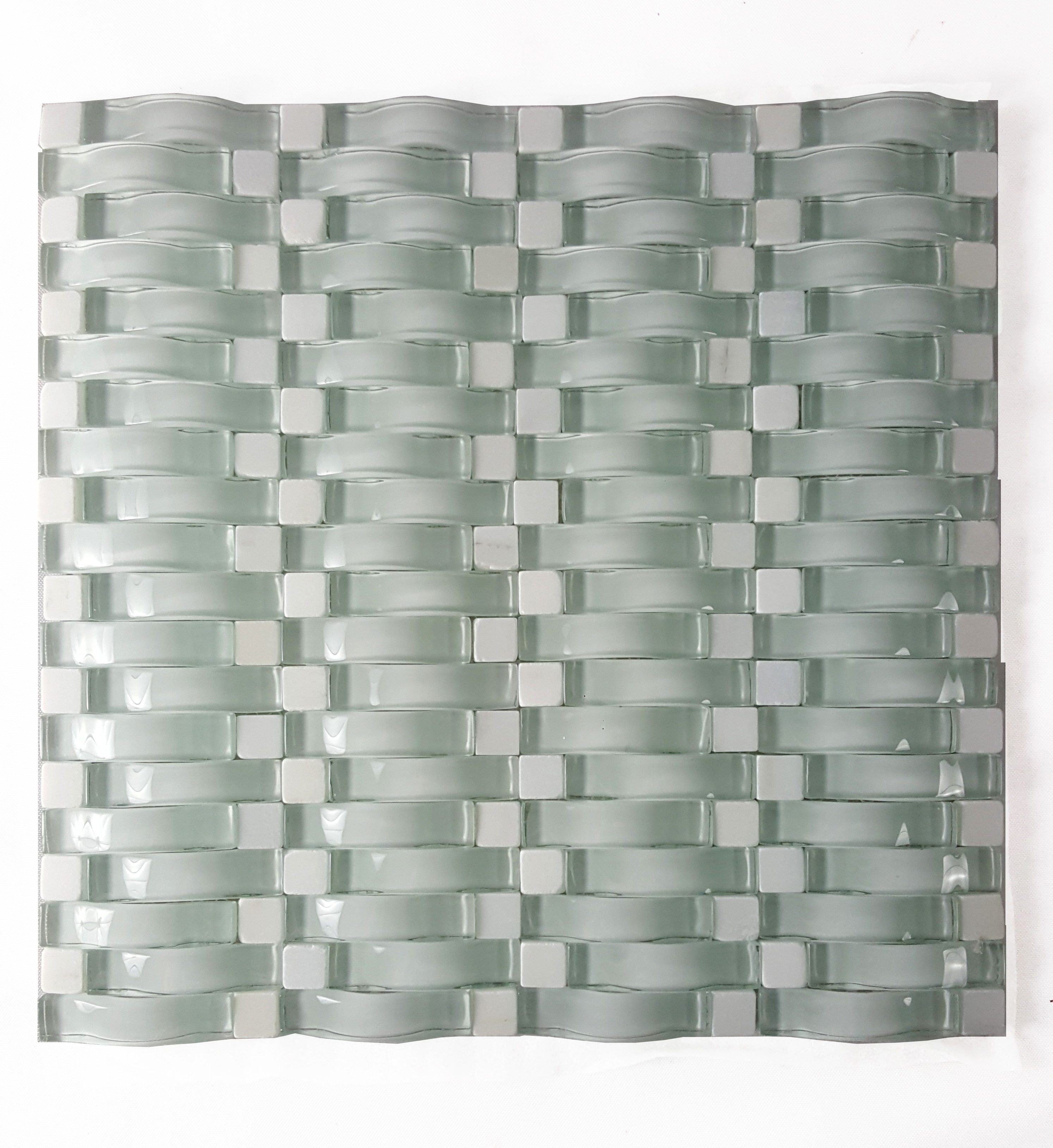 "Wave 0.63"" x 2.5"" Multi Finish Green Glass 3D Backsplash Mosaic Wall Tile"