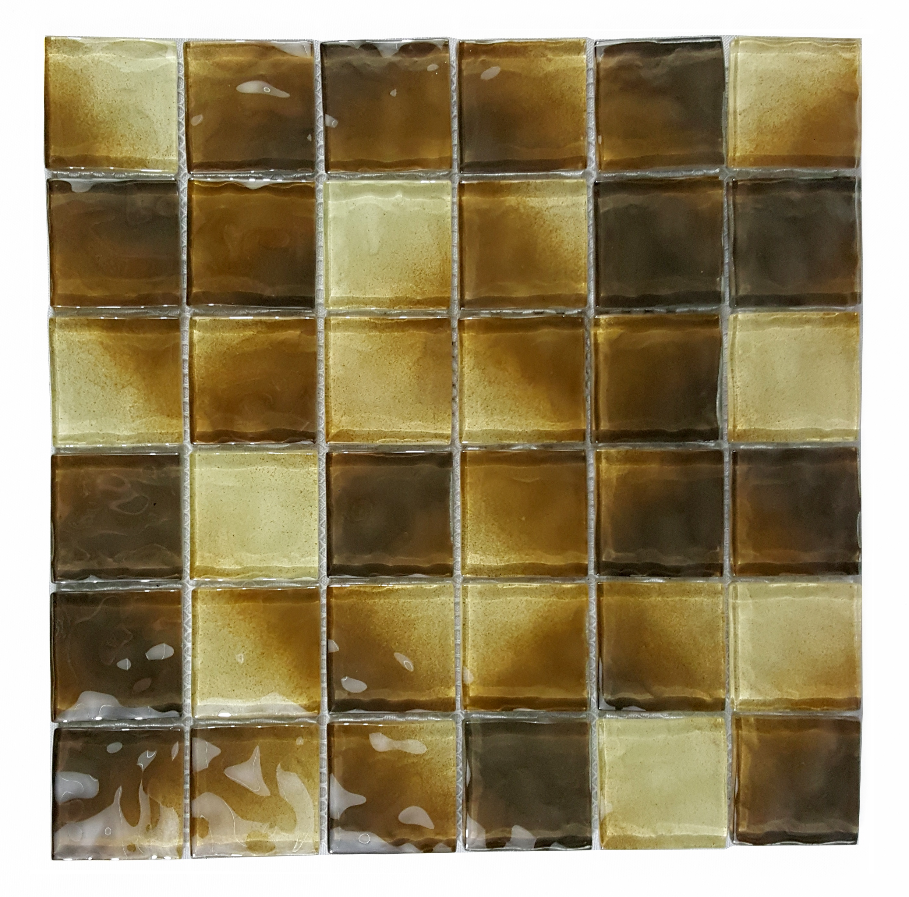 "Watermarks 2"" x 2"" Glossy (Pool Rated) Brown Glass Brick Backsplash Mosaic Wall Tile"