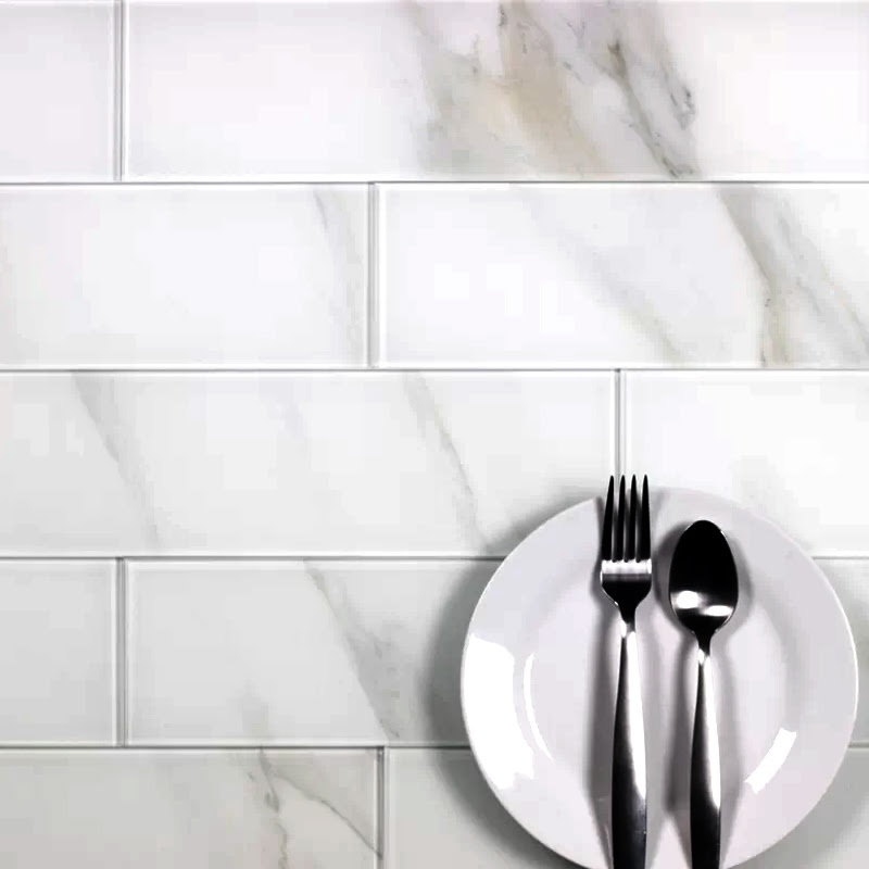 "Nature 4"" x 16"" Glossy Straight White Glass Subway Backsplash Wall Tile"