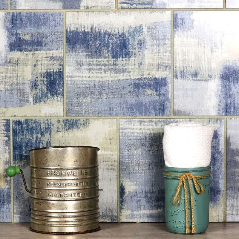 "Nature 8"" x 8"" Matte Blue Glass Field Backsplash Wall Tile"