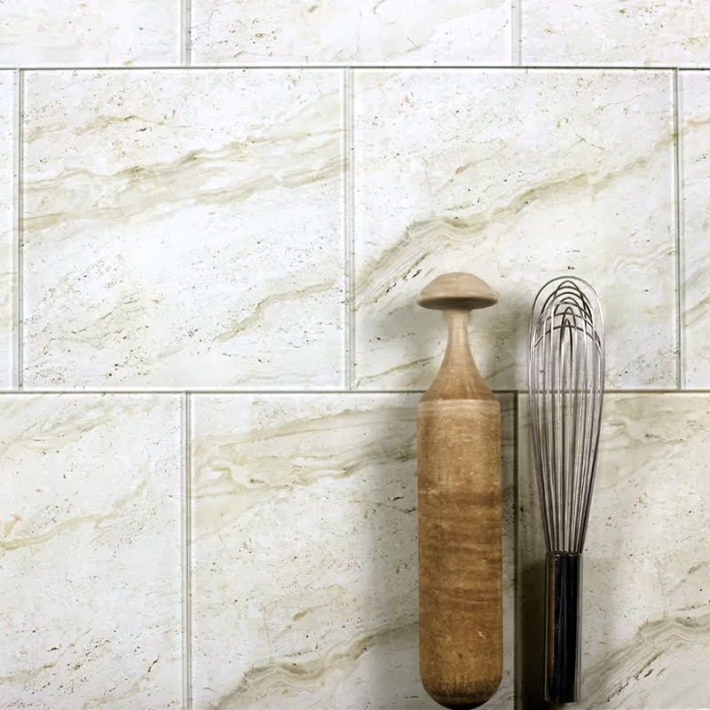 "Nature 8"" x 8"" Glossy Beige Glass Field Backsplash Wall Tile"