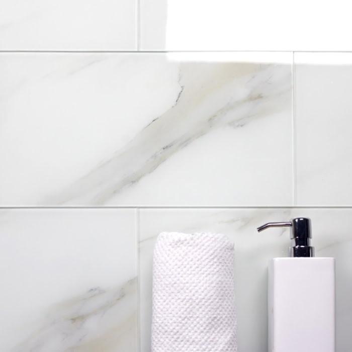 "Nature 8"" x 16"" Glossy White Glass Field Backsplash Wall Tile"