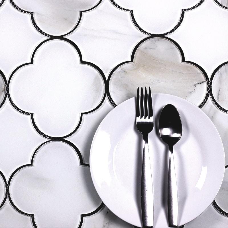 "Nature 6"" x 6"" Glossy White Glass Big Bang Waterjet Backsplash Mosaic Wall Tile"