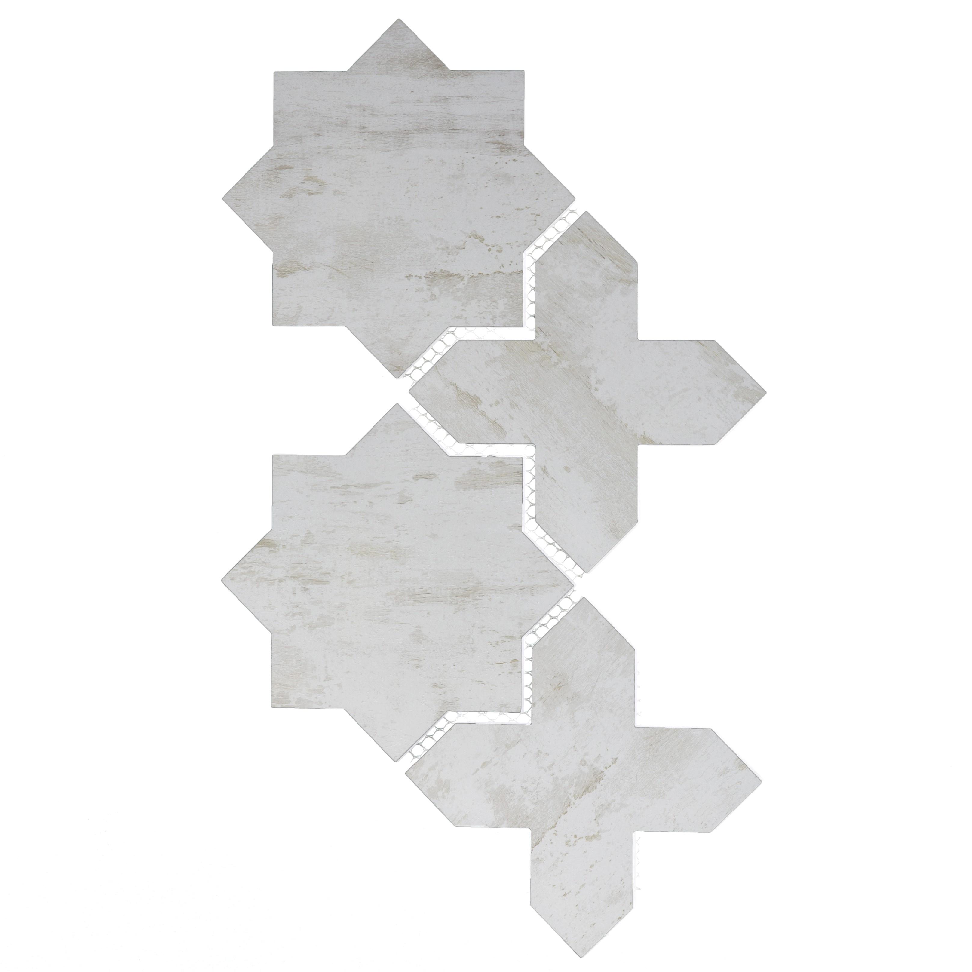 "Nature 6"" x 6"" Matte White Glass Celestial Waterjet Backsplash Mosaic Wall Tile"