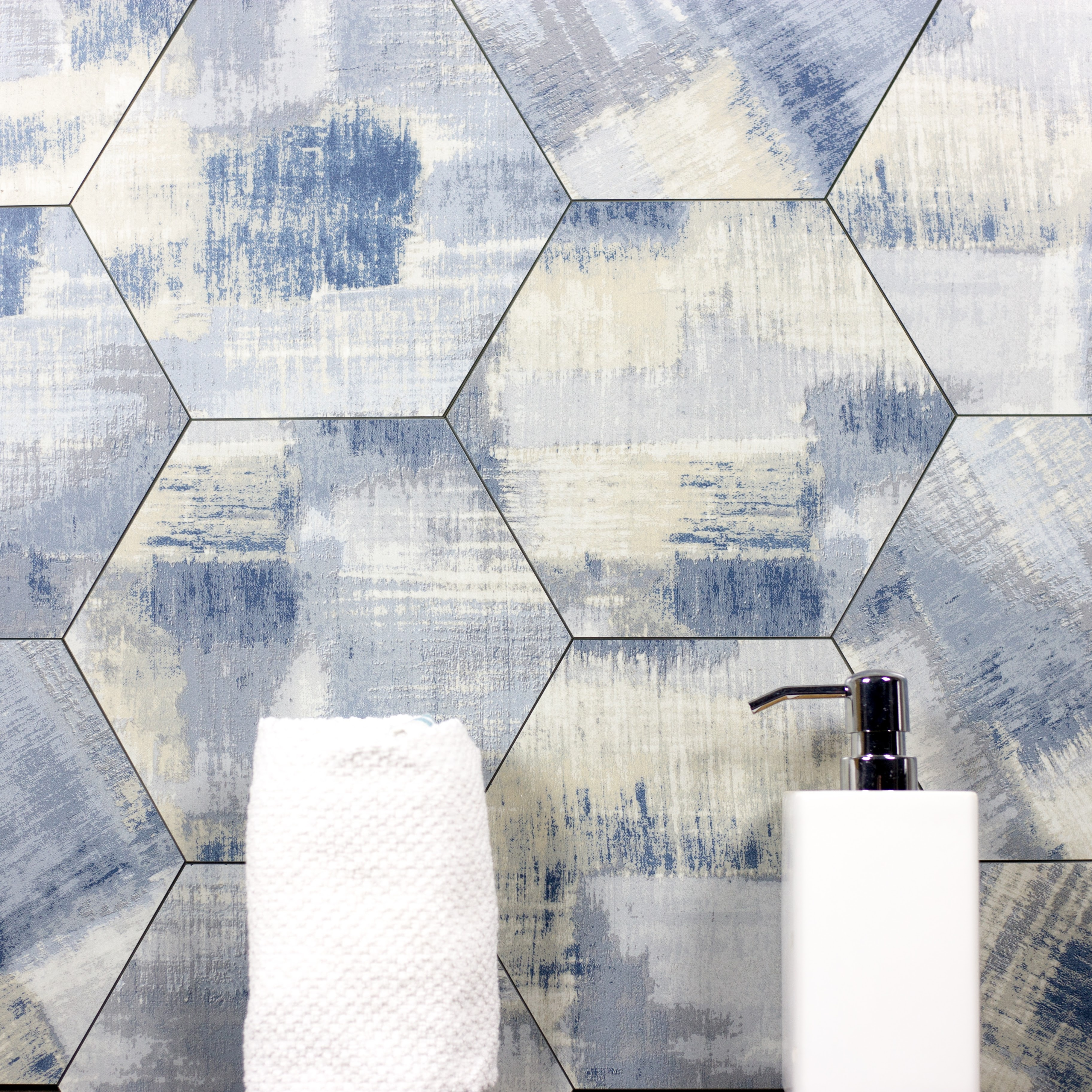 "Nature 8"" x 8"" Matte Blue Glass Hexagon Backsplash Wall Tile"