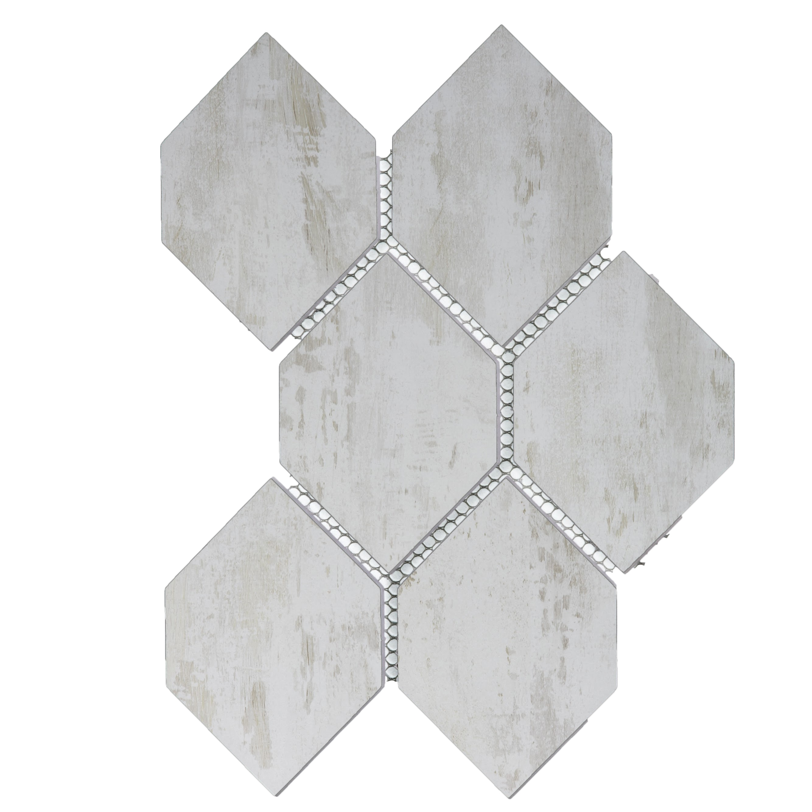 "Nature 3.5"" x 5.125"" Matte White Glass Honeycomb Waterjet Backsplash Mosaic Wall Tile"