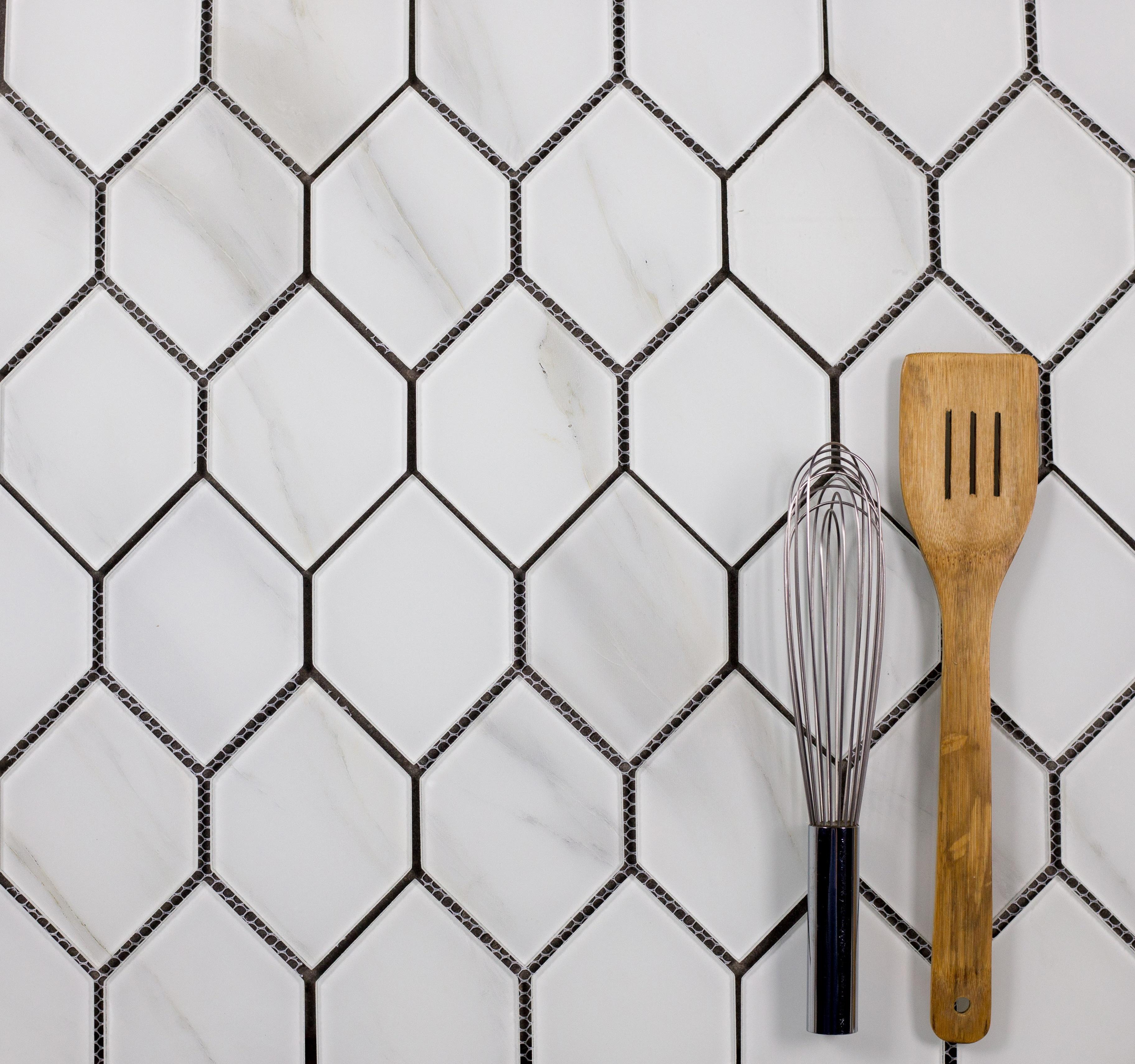 """Nature 3.5"""" x 5.125"""" Glossy White Glass Honeycomb Waterjet Backsplash Mosaic Wall Tile"""