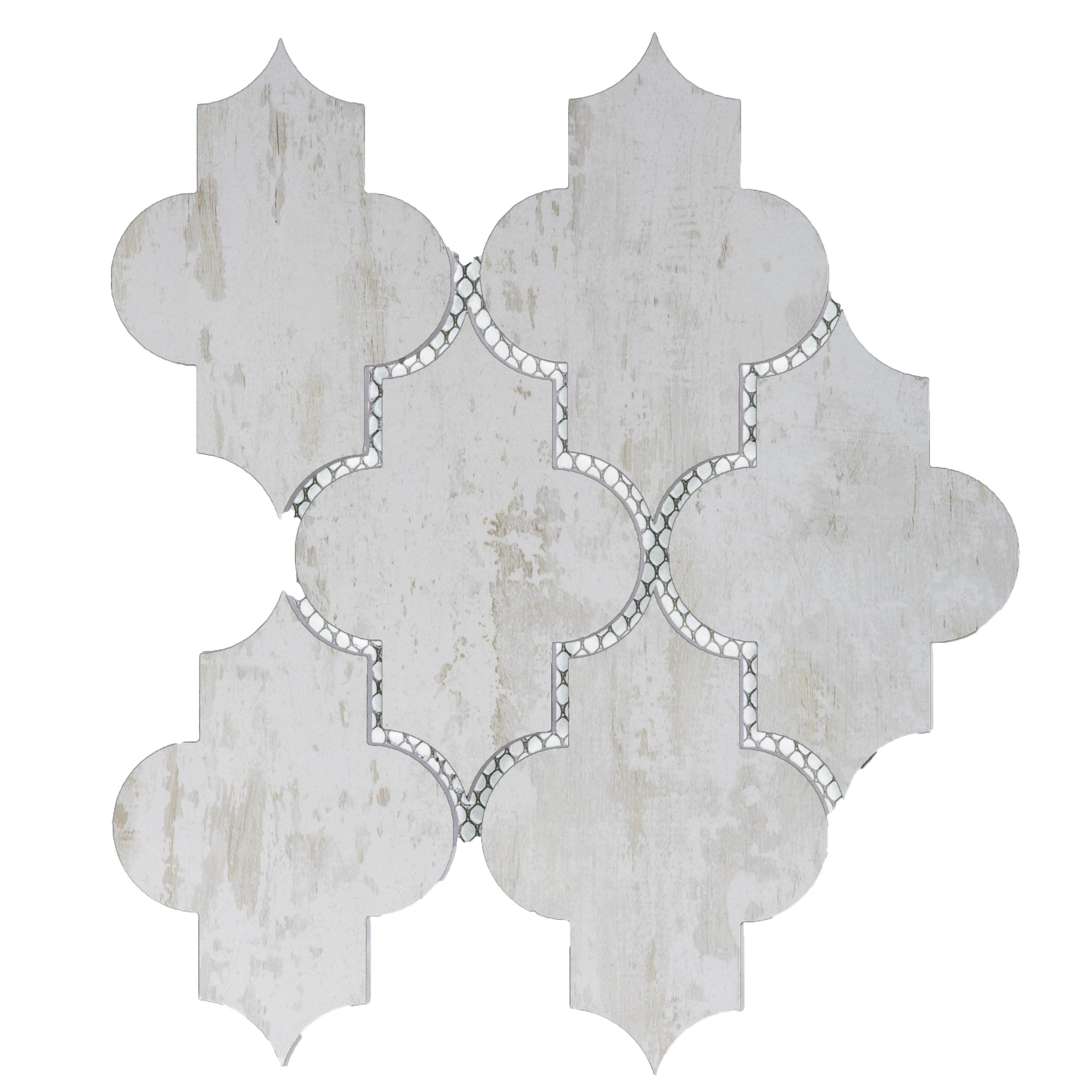 """Nature 4"""" x 5.5"""" Matte White Glass Small Lantern Backsplash Mosaic Wall Tile"""
