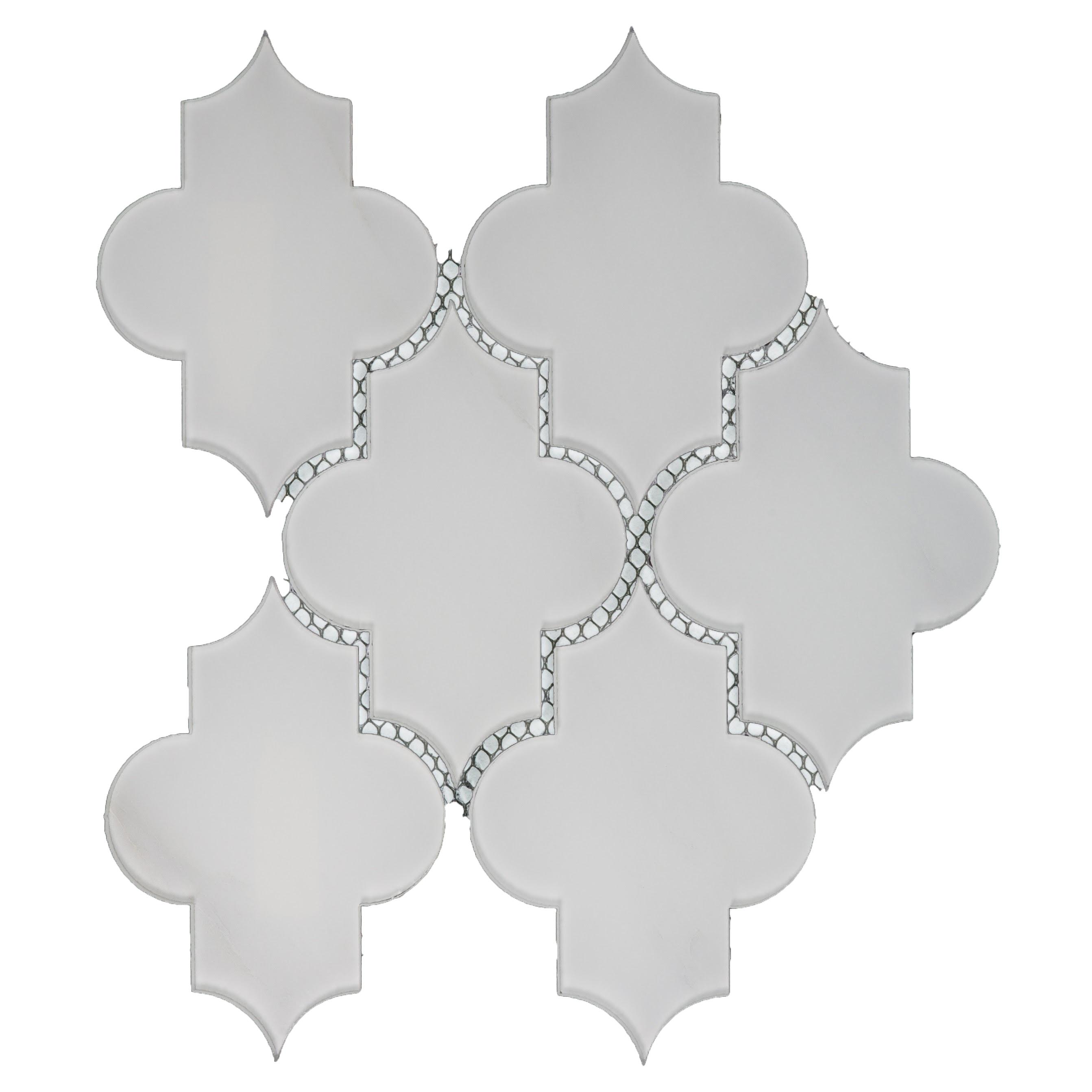 """Nature 4"""" x 5.5"""" Glossy White Glass Small Lantern Backsplash Mosaic Wall Tile"""