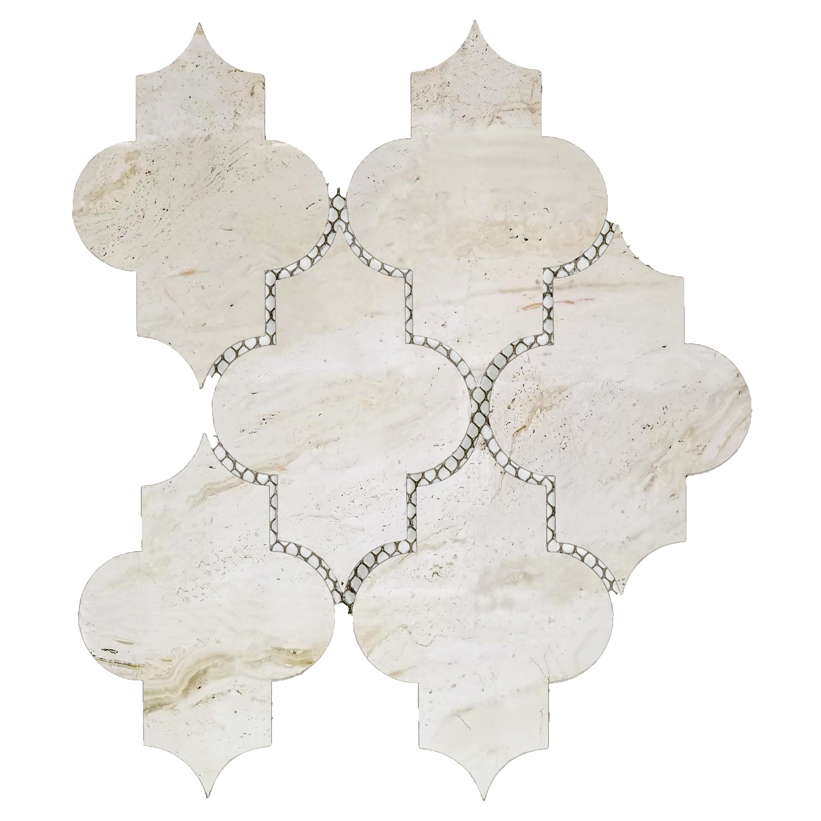 """Nature 4"""" x 5.5"""" Glossy Beige Glass Small Lantern Backsplash Mosaic Wall Tile"""